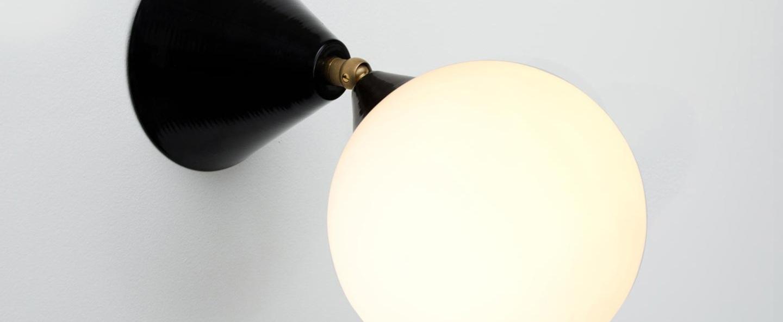 Applique murale cone and sphere noir et laiton o13 5cm p23 9cm atelier areti normal
