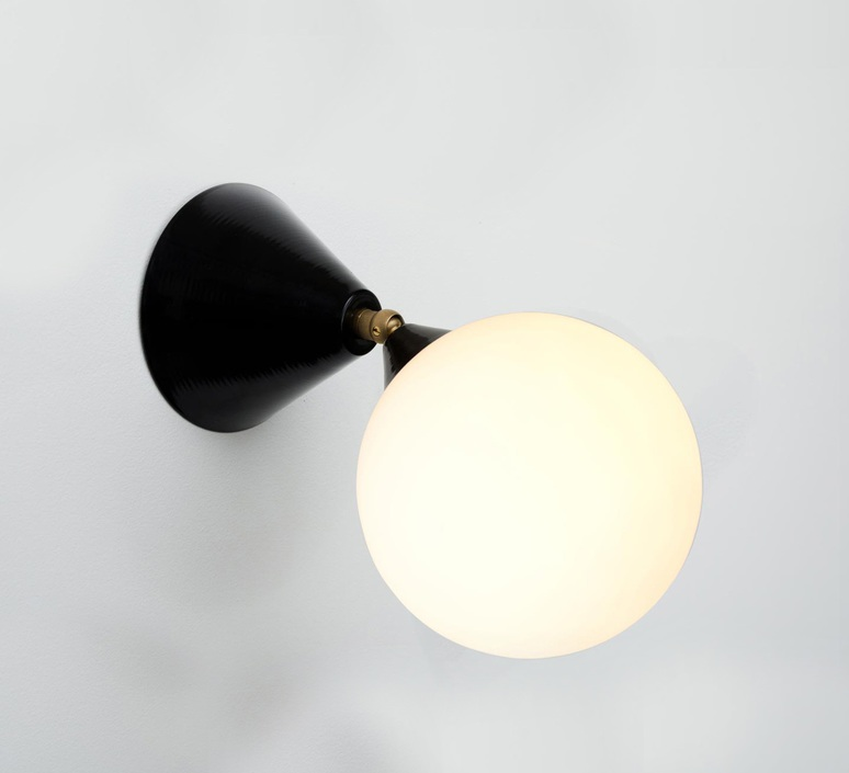 Cone and sphere  gwendolyn et guillane kerschbaumer applique murale wall light  areti cone and sphere wall ceiling white brass  design signed nedgis 75893 product