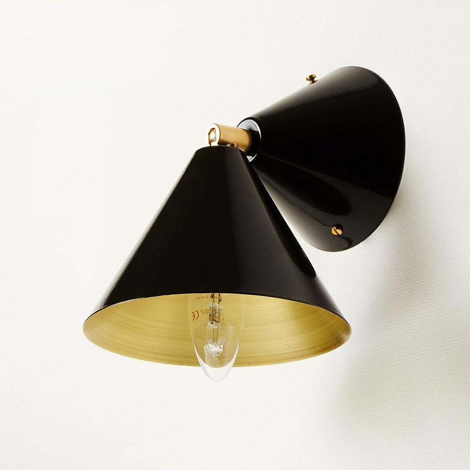 applique murale cone noir laiton 16cm atelier areti. Black Bedroom Furniture Sets. Home Design Ideas