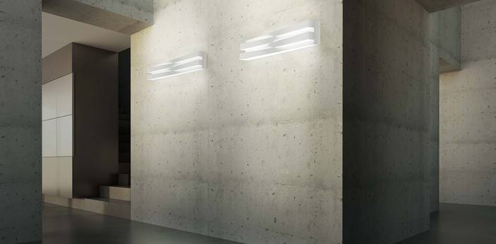 Applique murale cross blanc led 3000k 4680lm l60cm h11 5cm panzeri normal