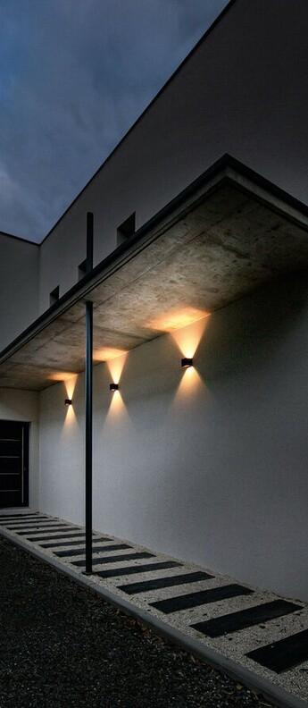 Applique murale d exterieur box 1 0 up or down bronze ip65 led 2700k 400lm o10cm h10cm wever ducre normal