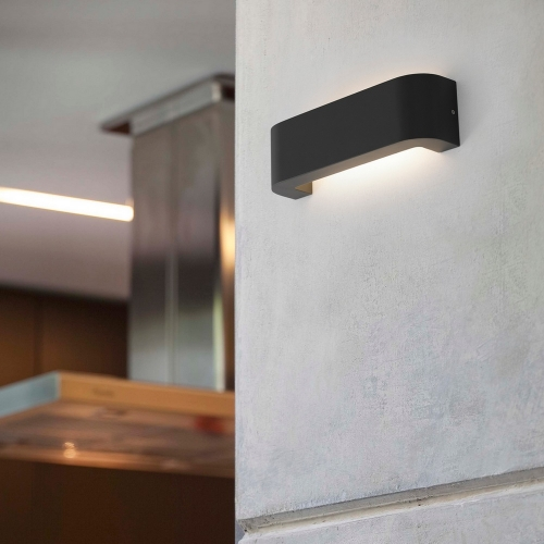 Outdoor wall light, BRACKET, IP44, dark grey, L30cm, H9cm - FARO ...