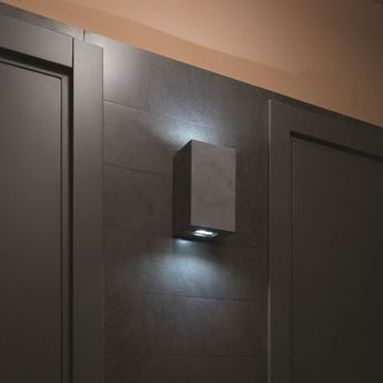 Applique murale d exterieur brique 2v gris led l12cm h20cm lucifero s normal
