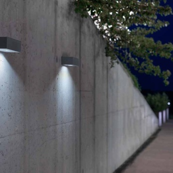 Applique murale d exterieur brique o gris led l25cm h8cm lucifero s normal