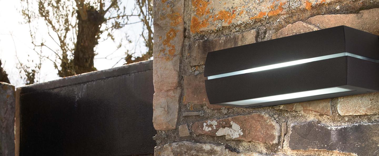 Outdoor wall light dragma charcoal h9cm faro nedgis for Applique murale exterieur amazon