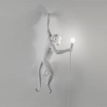 Applique murale d exterieur interieur monkey left hand singe blanc ip44 l37cm h76 5cm seletti normal