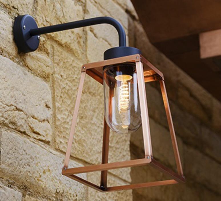 Applique murale d 39 ext rieur lampiok 5 cuivre h46 5cm - Lanterne exterieur moderne ...
