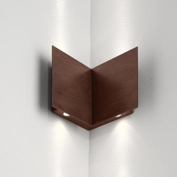 Applique murale d exterieur manine 270 v biemissione verticale marron led l10cm h12cm lucifero s normal
