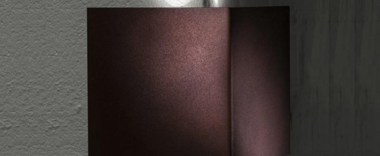 Applique murale d exterieur manine 270 v biemissione verticale marron led l12cm h12cm lucifero s normal