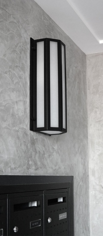 Applique murale d exterieur scanea 430 noir et blanc ip44 led 3000k lm l22cm h43cm raphael armand normal