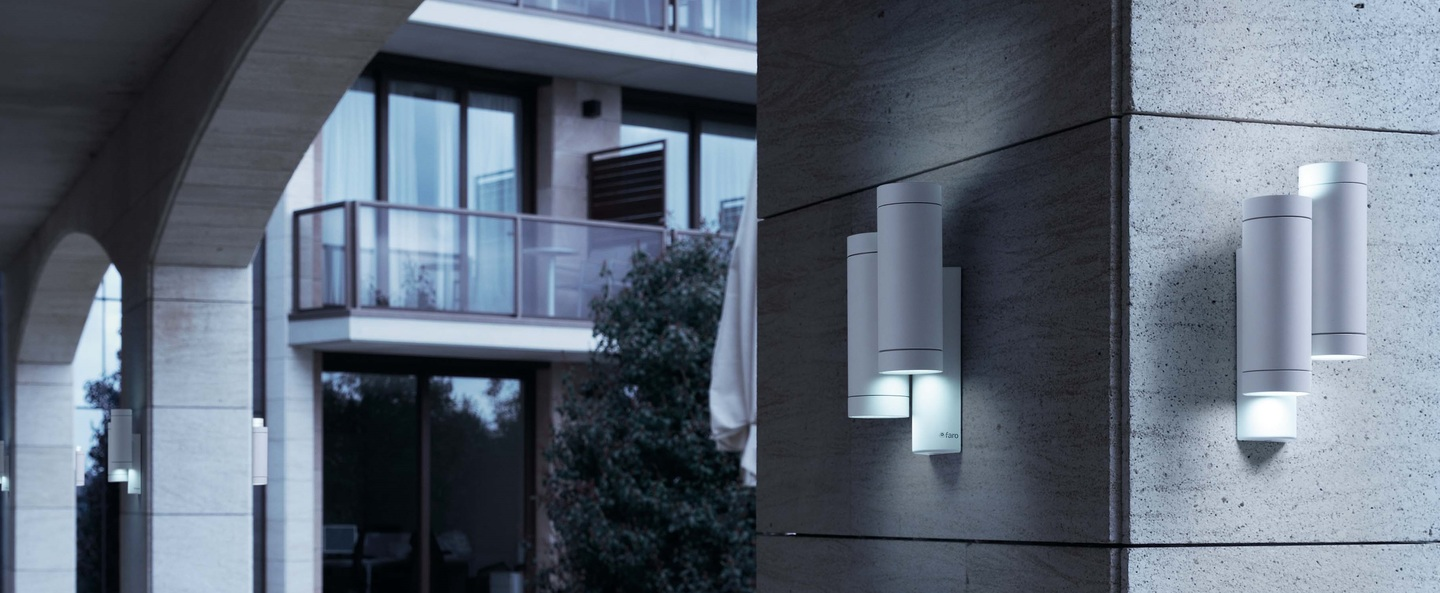 outdoor wall light steps white h19cm faro nedgis