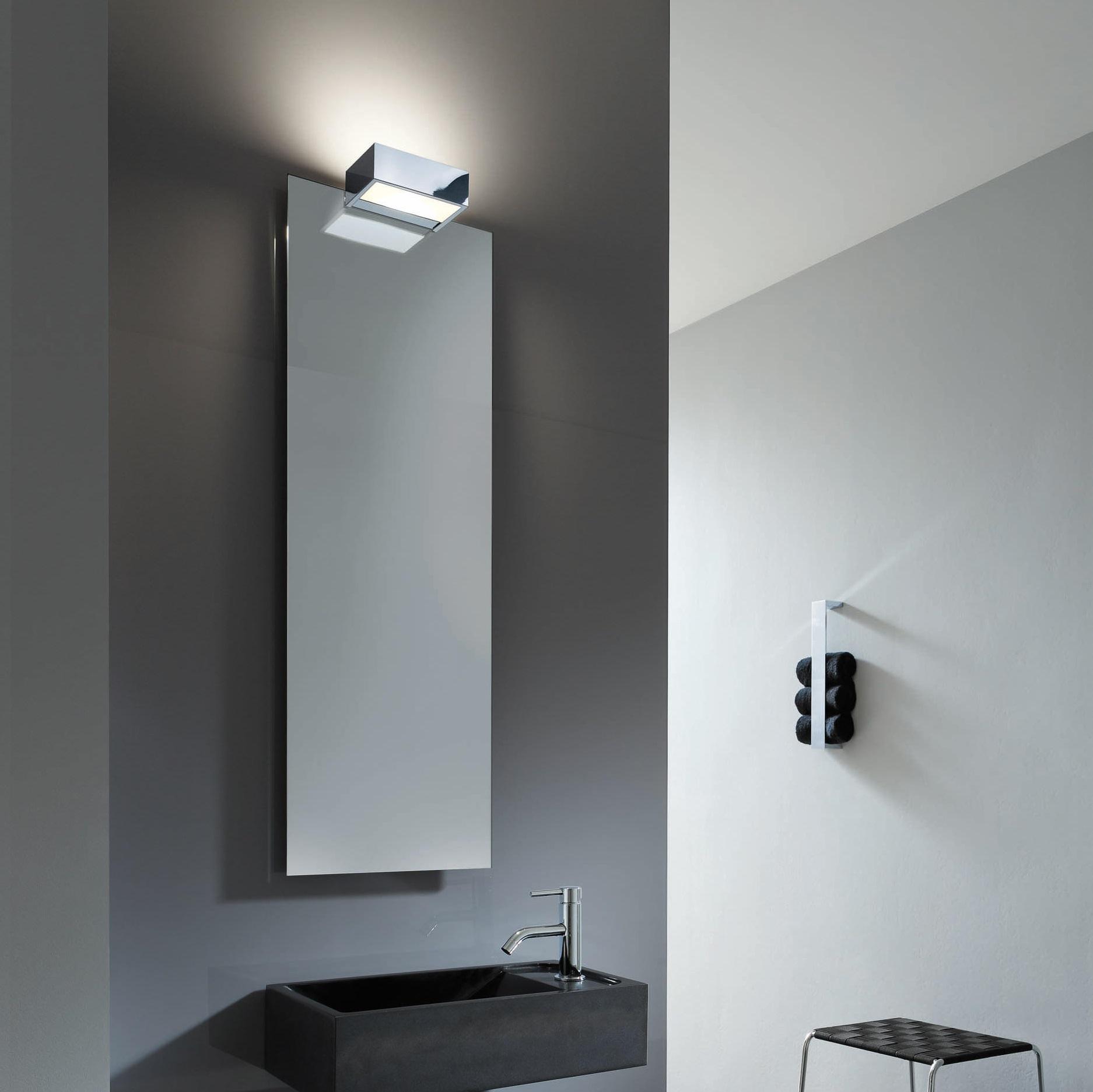 Applique murale de salle de bain avec fixation miroir box 1 25 n chrome led l25cm h5cm - Fixation miroir salle de bain ...