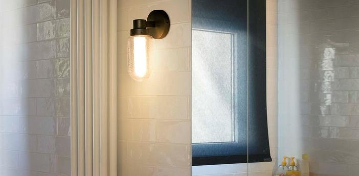 Applique murale de salle de bain brume led gris ip44 led 2700k 200lm l9cm h21 5cm faro normal