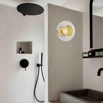 Applique murale de salle de bain horizon transparent or ip44 o21cm h16 5cm ebb and flow normal