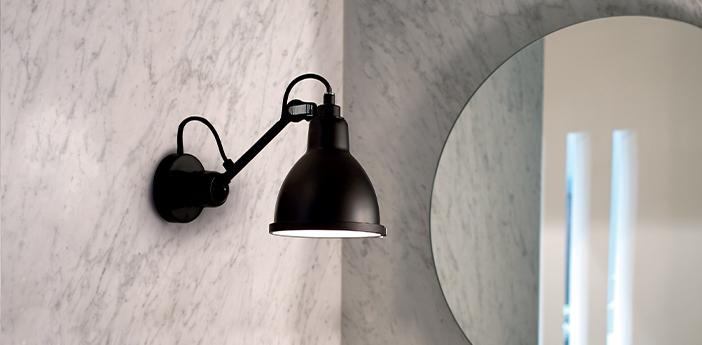 Applique murale de salle de bain lampe gras bathroom noir l14cm h17 5cm dcw editions normal