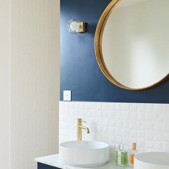 Applique murale de salle de bain perla laiton ip44 l12cm h11 5cm faro normal