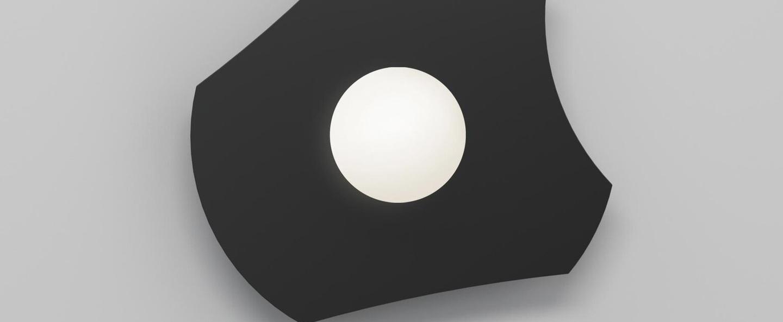 Applique murale disc and sphere 501 noir l30cm h28cm atelier areti normal