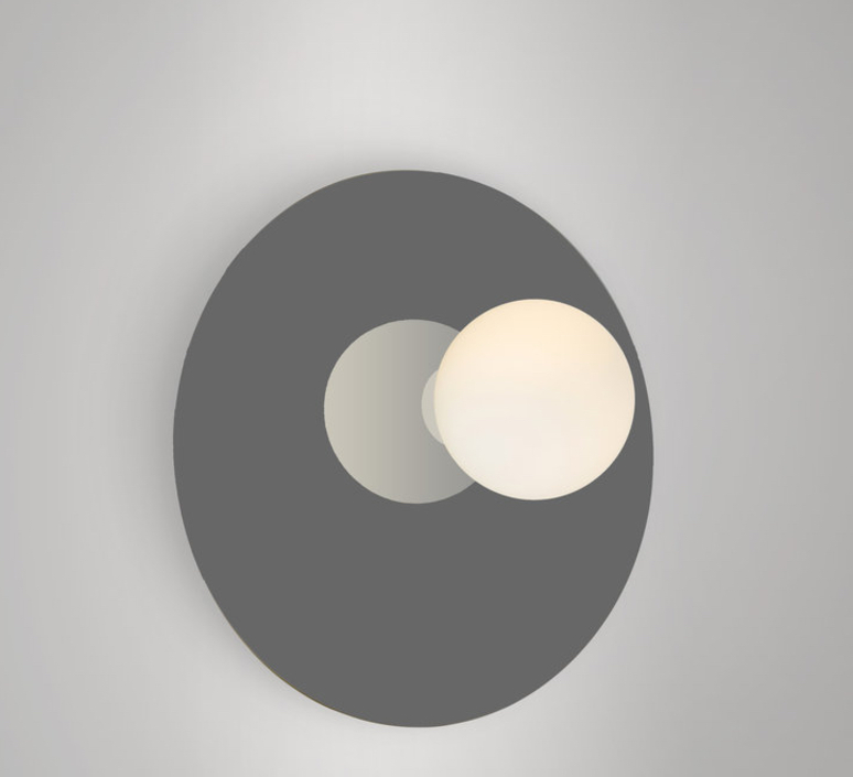 Disc and sphere asymmetrical gwendolyn et guillane kerschbaumer applique murale wall light  areti disc and sphere asymmetrical black chrome  design signed nedgis 64019 product
