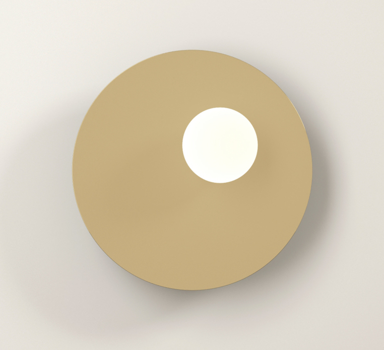 Disc and sphere asymmetrical gwendolyn et guillane kerschbaumer applique murale wall light  areti disc and sphere asymmetrical white brass  design signed nedgis 64017 product