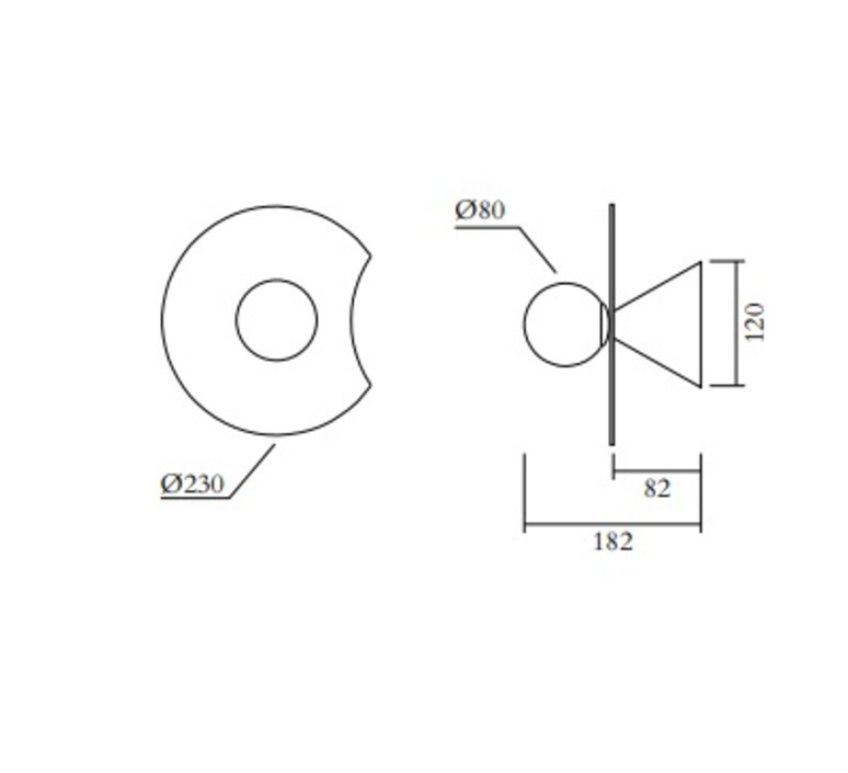 Disc and sphere bent intersecting gwendolyn et guillane kerschbaumer applique murale wall light  atelier areti 518ol w01 br01  design signed nedgis 117316 product