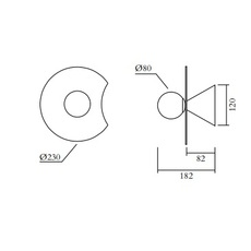 Disc and sphere bent intersecting gwendolyn et guillane kerschbaumer applique murale wall light  atelier areti 518ol w01 br01  design signed nedgis 117316 thumb