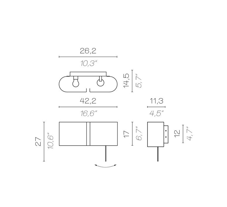 Duo droite izeu applique murale wall light  contardi acam 002802  design signed nedgis 87236 product