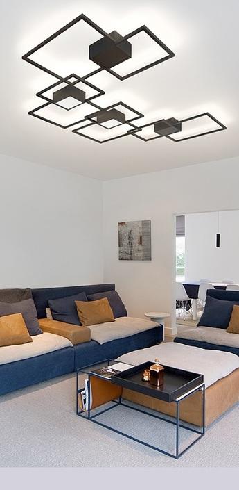 Applique murale et plafonnier venn noir carre lumineux o72 4cm wever ducre normal