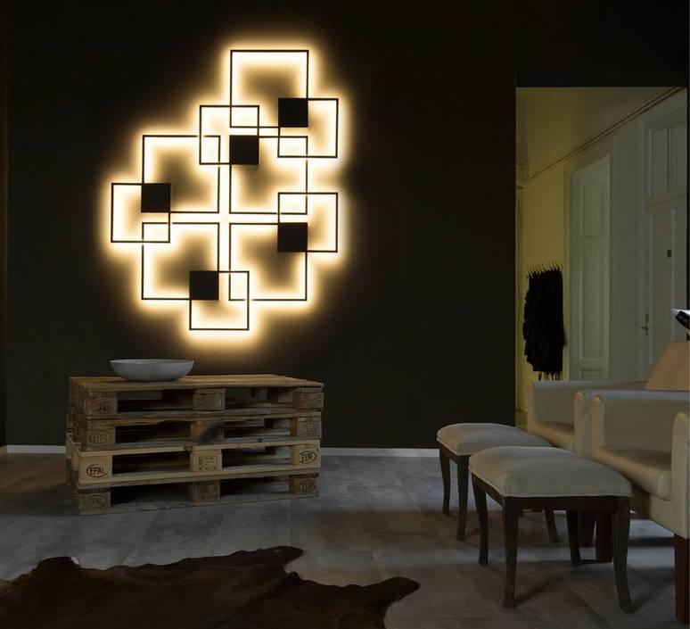 applique murale et plafonnier venn 1 0 noir led 2500lm. Black Bedroom Furniture Sets. Home Design Ideas