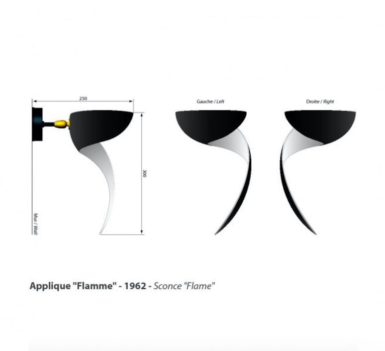 Flamme droite serge mouille editionssergemouille flam noir droite luminaire lighting design signed 20811 product