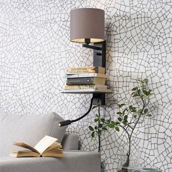 Applique murale florence usb noir et sable l38cm h50cm it s about romi normal