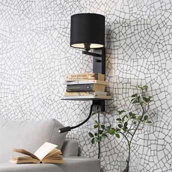 Applique murale florence usb noir l38cm h50cm it s about romi normal