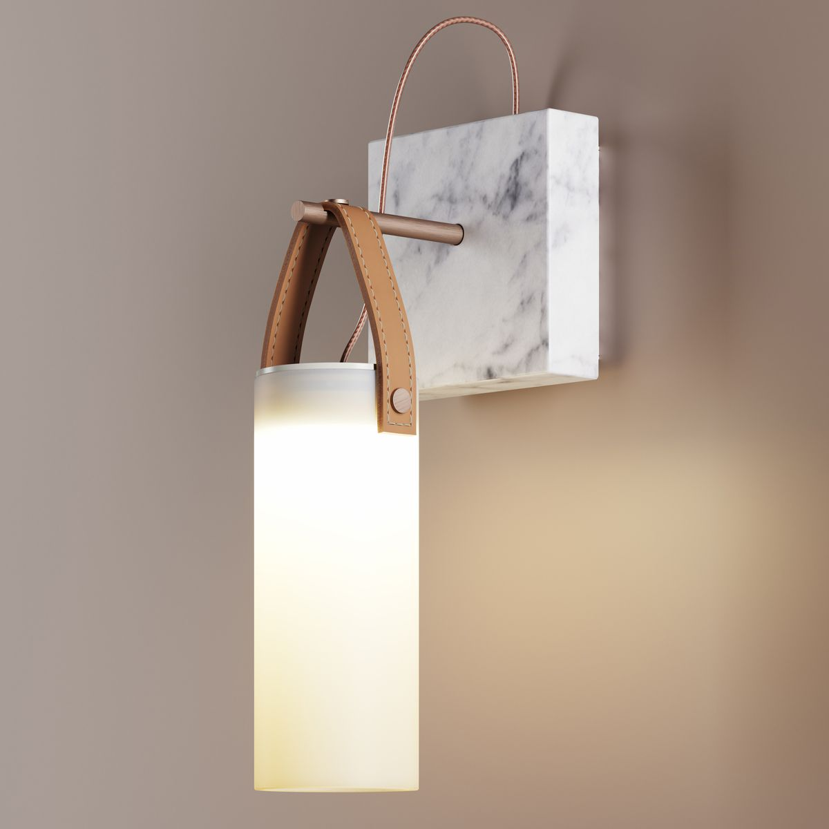 Wall light, Galerie, white, brass, marble, LED, L17cm, H33,5cm ...
