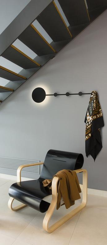 Applique murale han portemanteau noir led l101cm h25cm faro normal