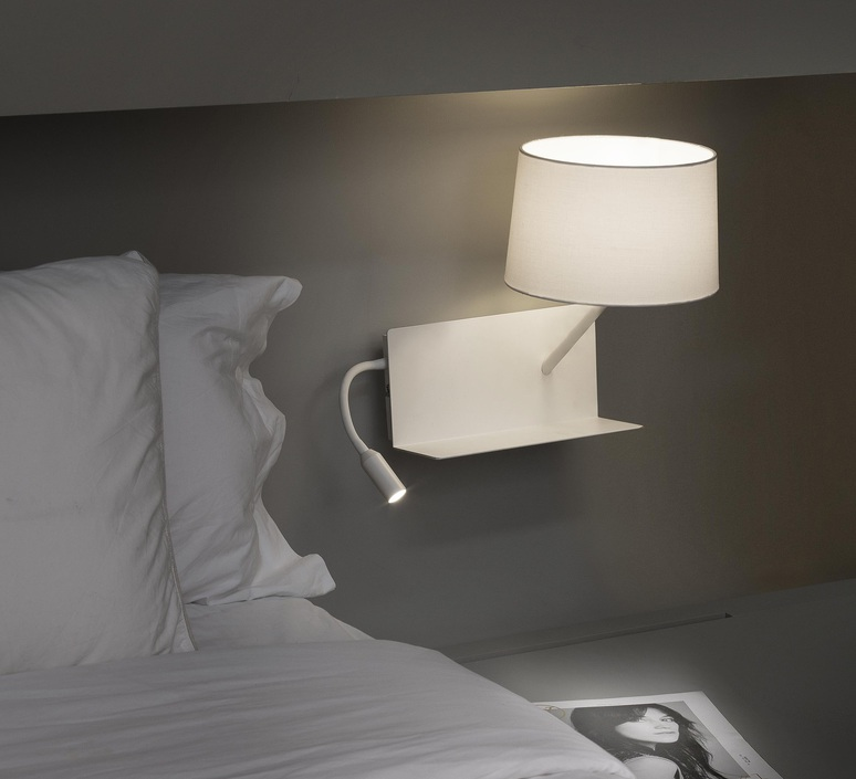 applique murale handy blanc liseuse droite 2 interrupteurs h55cm faro luminaires nedgis. Black Bedroom Furniture Sets. Home Design Ideas