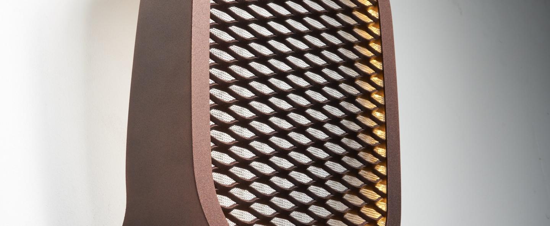 Applique murale ideo avec grille bronze led l27cm h37cm zava normal