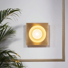 Kins  applique murale wall light  bert frank kins wall light brass white  design signed 36093 thumb