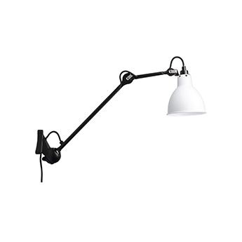 Applique murale lampa gras n 222 corps noir abat jour rond blanc interieur blanc l14cm h14cm dcw editions paris normal