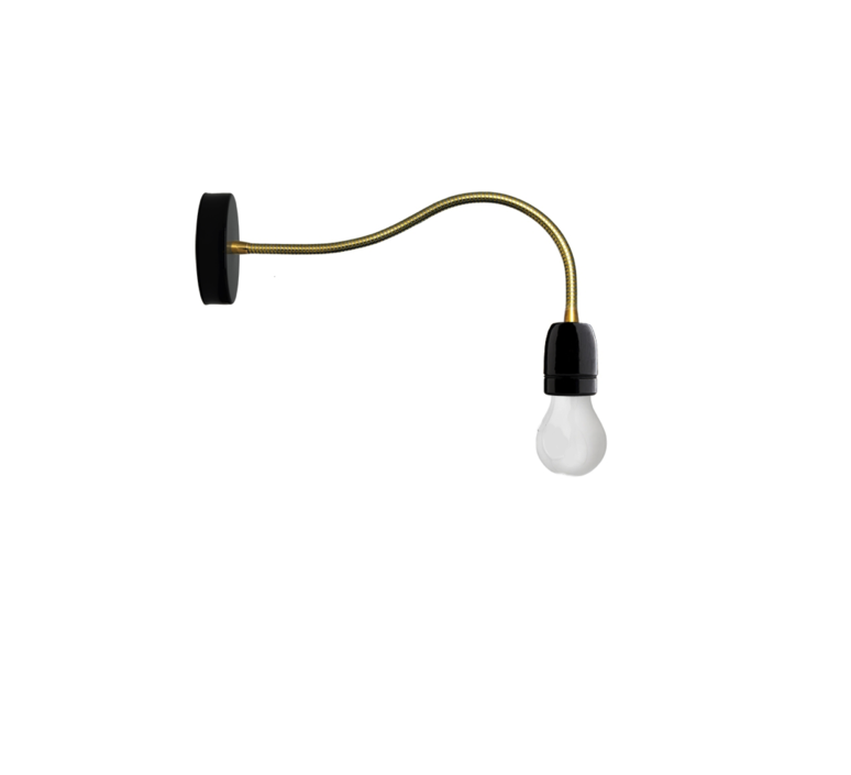 applique murale lampe bras flexible noir et or led 10cm h48cm zangra luminaires nedgis. Black Bedroom Furniture Sets. Home Design Ideas