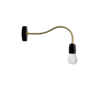 Applique murale lampe a bras flexible noir et or led o10cm h48cm zangra normal