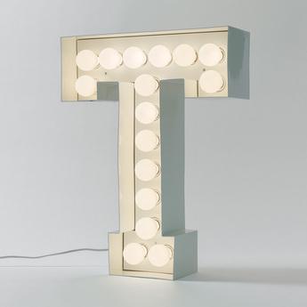 Applique murale lampe a poser vegaz lettre t blanc h60cm seletti normal