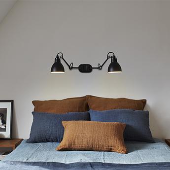 Applique murale lampe gras 204 double corps noir abat jours noirs interieur blancs l13cm h16cm dcw editions paris normal