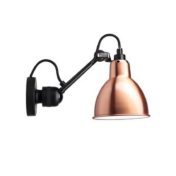 Applique murale lampe gras 304 sans cable sans interrupteur corps noir abat jour rond cuivre interieur blanc l15cm h15cm dcw editions paris normal