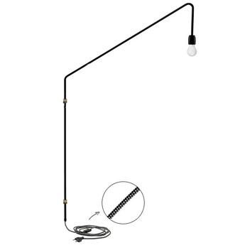 Applique murale lampe potence laiton noir h150cm p95cm zangra normal