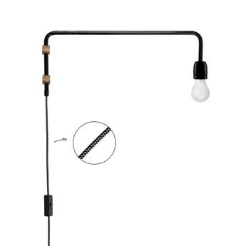 Applique murale lampe potence laiton noir h20cm p50cm zangra normal