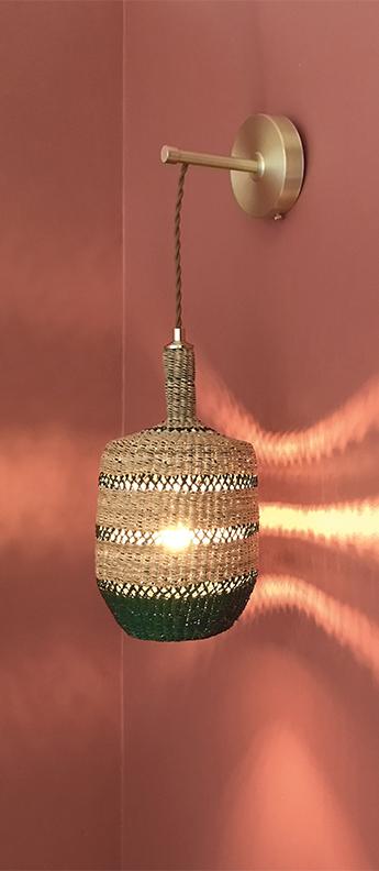 Applique murale lantern naturel herbe o15cm h28cm golden editions normal