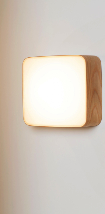 Applique murale led cube blanc chene h22 5cm tunto normal