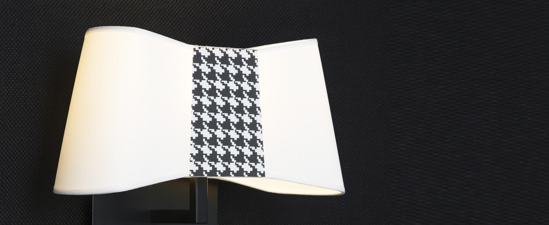 Applique murale led liseuse petit couture blanc pied de poule h33cm designheure normal