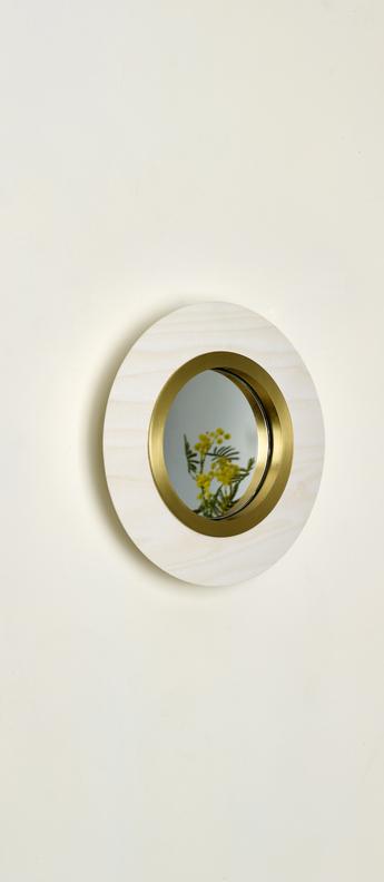 Applique murale lens circular blanc ivoire dore led 3000k 160lm l24 5cm h24 5cm lzf normal