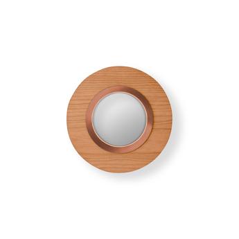 Applique murale lens circular bois naturel de cerisier cuivre led 3000k 160lm l24 5cm h24 5cm lzf normal
