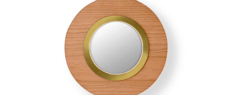 Applique murale lens circular bois naturel de cerisier dore led 3000k 160lm l24 5cm h24 5cm lzf normal